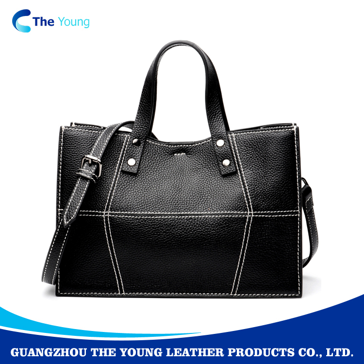 2018 Direct manufacture black top grain <strong>leather</strong> large capacity ladies hand bags women handbags