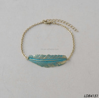 Antique bronze turquoise simply leaf bracelet