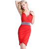European Fashion Dress Red Silver Waist Band Cocktail Dress Deep V Neck Party Dress