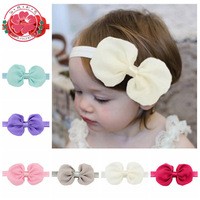 585 Cute Kids Baby Toddler Infant Solid Hair Bows Hair Band Chiffon Bowknot Girls Headband