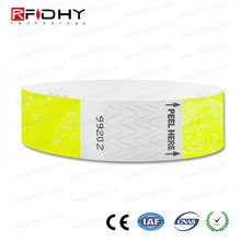 MIFARE(R) Ultralight C Colorful RFID Disposable DuPont paper Wristbands for E ticket