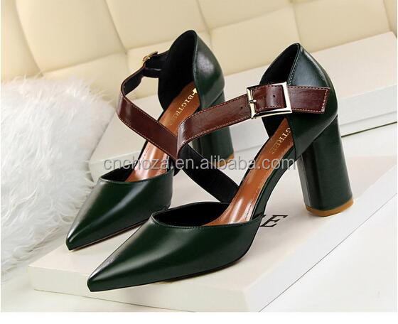 Z80114E new fashion chunky heel pointed-toe high heel shoes for women