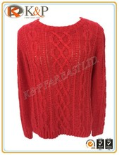 Knitting OEM service FW golfing 5 gg rose wool cables round neck Girls Sweater