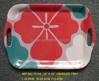 75114 hot sale tray serving tray with handle flower design tray
