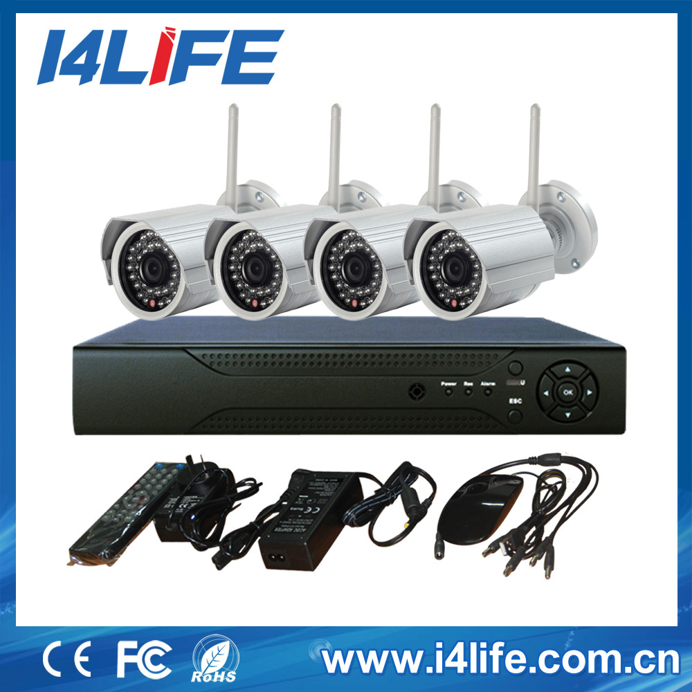 4ch cctv dvr kit wireless cctv camera kit,outdoor video camera,wireless dvr support 4 cameras