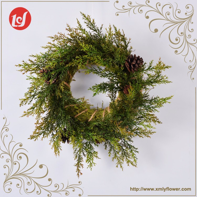 SFB39001-C6062 2017 Home Decor Housewarming Gift Farmhouse Artificial Green Wreath