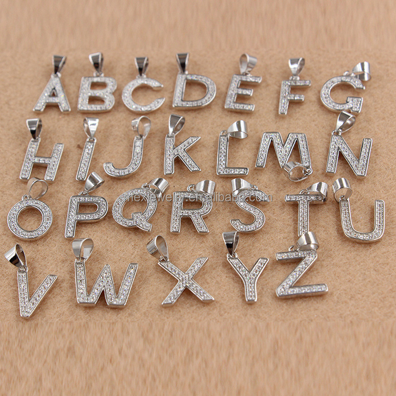 Christmas gift in stock silver crystal alphabet a b c d e f g k i j k l m n o p q r s t u v w x y z diamond pendant design