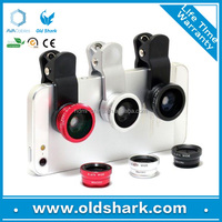 Phone camera accessory clip mobile phone lens 3 in 1 lens set macro wide angle fisheye lens for Samsung iphone