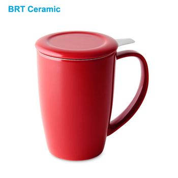 Hot Selling Ceramic Tea Mug with Stainless Steel Infuser