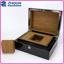 Hot Sale Custom Black Glossy Lacquered Single Watch Wooden Box
