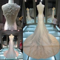 Real sample sxey backless fishtail floral pattern wedding gowns/long train beautiful low back wedding dresses