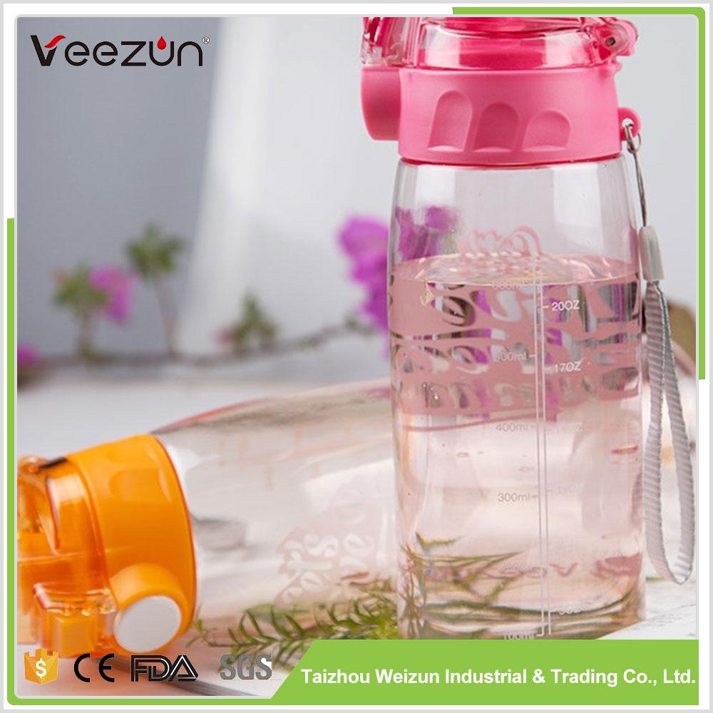 Loja Online atacado logotipo personalizado garrafa de esportes de plástico de frutas garrafa de água do esporte