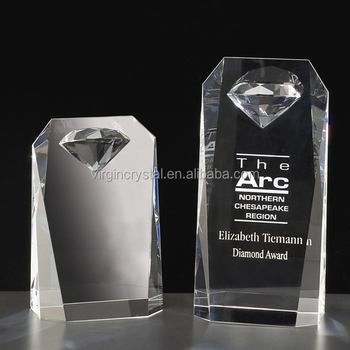 Elegant blank K9 crystal diamond trophy cristal award promotion
