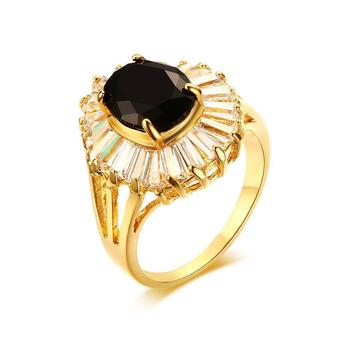Product launches, 19 mm gold-plated copper black zircon ring, European and American fashion jewelry YSS710
