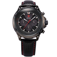 Men Black Leather Chronograph 24hrs Display Quartz Sport Wrist Watch SH213