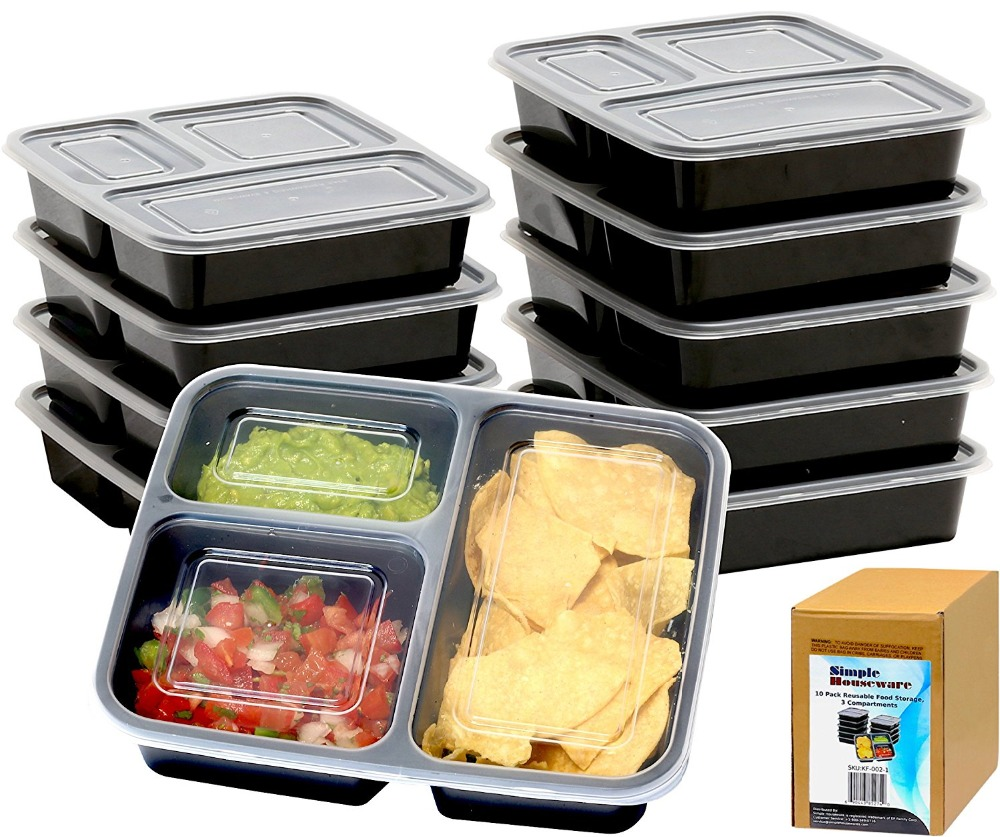 Black Microwave Safe Plastic meal prep containers 3 compartment