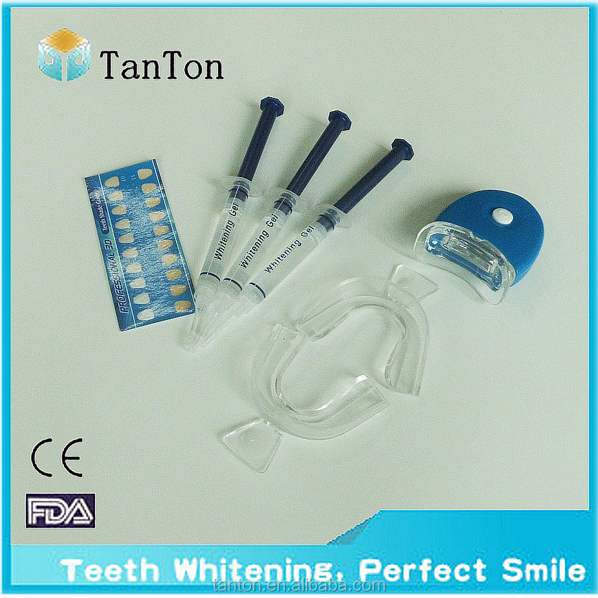 Teeth Whitening LED Light Kit, 35% Carbamide Peroxide, (3) 3ml Gel Syringes, Mouth Tray and Case