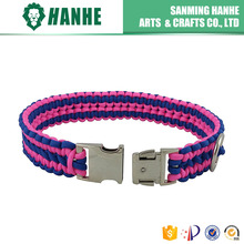 Eco-Friendly Paracord Dog Pet Collar for Cute Dog Cat Blue and Bright Pink
