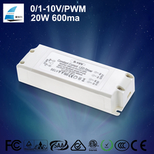 ce etl saa led driver 20w 600ma dimmable 10W-60W 0/1-10v pwm dimming led power supply