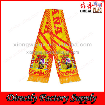 Spain flag satin printed fan scarf