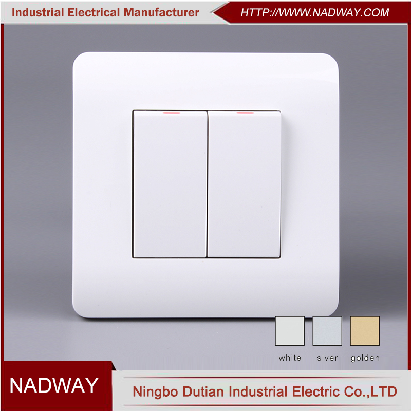 U104 home 10A 250V EU/IEC standard 2 gang 1way electrical switch