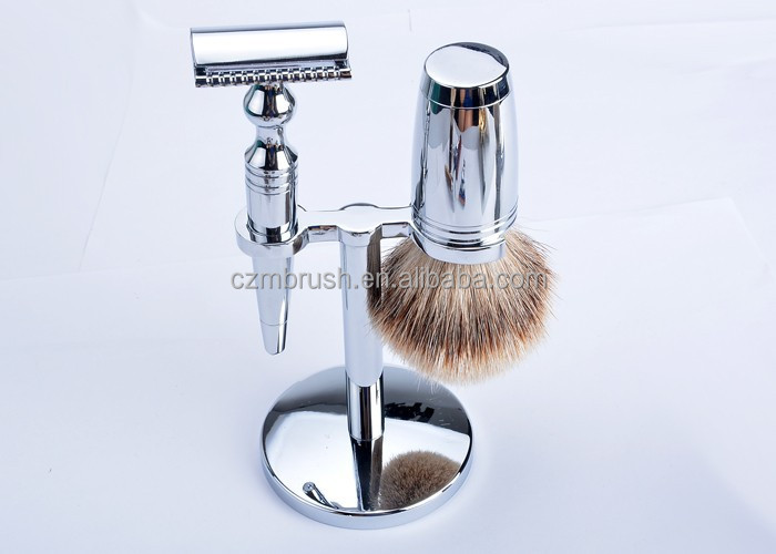 Chrome Badger Shaving brush set with Shaving brush, Stand, Safety razor, Bowl