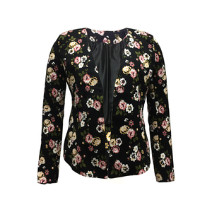 New Collection Cotton Spandex Polyester Women Smart Casual Long Sleeve Buttonless Black Color Flower Print Jacket