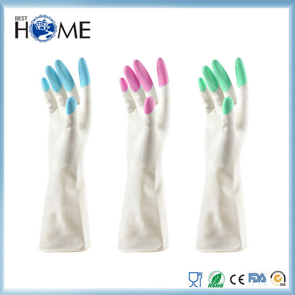 Household Rubber Latex Dish Washing Gloves For Kitchen Cleaning