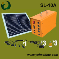 18V 10W solar panel for wholesale solar lighting system, solar lighting kit with three led lights