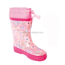 fancy print rubber rain shoes wholesale knee high boots with collar for women