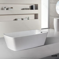 Free standing glacier white low price acrylic solid surface bathtub