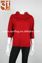 Women wide turtle neck half sleeve pullover cable and plain acrylic knitted sweater