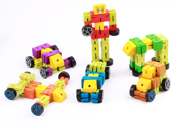 Educational Wooden Poseable Robot Toy Creative Transforming DIY Cube Puzzle For Children