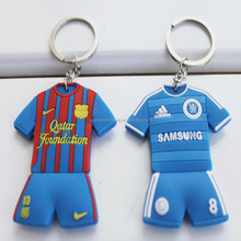 custom promotion football/basketball shirt rubber key chain for fans