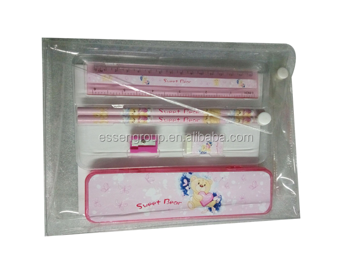 Popular School Cartoon Stationery Set with Pencil Case