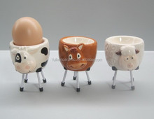 Ceramic Cute 3D Animal Egg Cup with iron holder