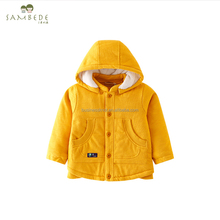 SAMBEDE Hot Sales 1-5T Baby Coats Yellow Cotton Thermal Outerwears Winter Cashmere Coat SM7D30800