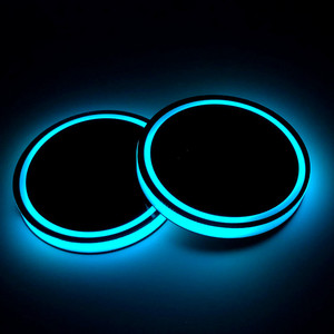 Anti-slip waterproof glowing LED cup pad mat for Car inside cup holder use with 7color RGB light battery and solar charge