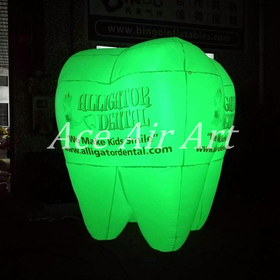 custom Giant advertising Balloon inflatable tooth shaped products with lights and logo For sale in USA