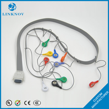 Medical Materials Integrated Flat 10 Leads Snap Tens ECG Cable