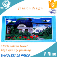 100% cotton custom photo design printing full color house picture towel