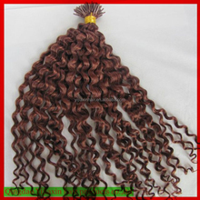 Tangle free hair factory accept paypal wholesale italian keratin i tip curly hair extensions