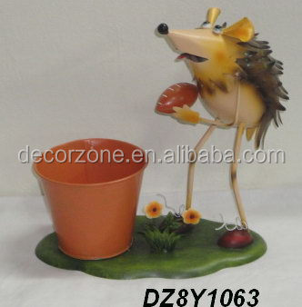 Hot Sale Garden Ornaments Hedgehog With Planter Pot