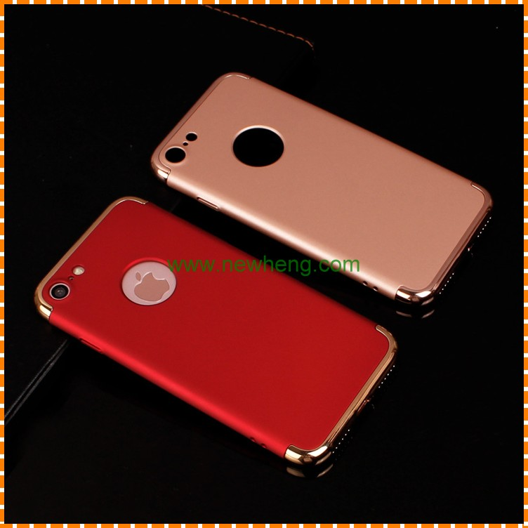 hard PC phone case for iphone 7 3 in1 eletroplating combo print TPU PC back cover