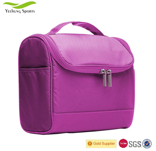 Purple Built-In Compartments Toiletry Cosmetic Bag Wash Case Storage Pouch With Wall Hook And Handle
