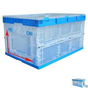 transparent stackable plastic storage packaging storage box foldable warehouse tent crates box with open front