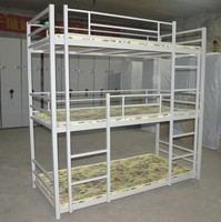 New product school dormitory style hotel furniture heavy duty army metal triple bunk bed