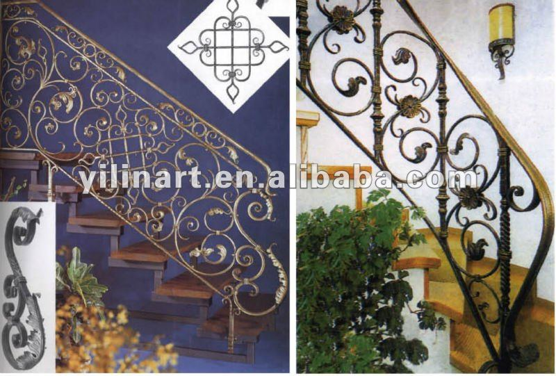 Indoor outdoor wrought cast iron stairs railing YL-E107