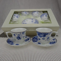 12pcs New bone china cup and saucer with blue flowers