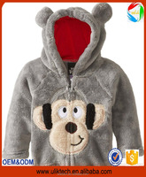 gray color cute dogs hoodies dog print Coral fleece fabric baby boy and girls winter clothes coats